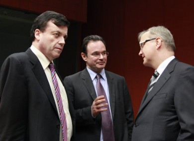 Brian Lenihan, Greek finance minister George Papaconstantinou and Commissioner Olli Rehn at yesterday's meeting.