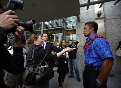 The Samoan centre arrives for his IRB disciplinary hearing.