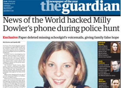 The Guardian's frontpage story which escalated the hacking scandal.
