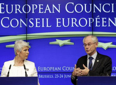 Croatian prime minister Jadranka Kosor and EU Council president Herman van Rompuy: pending a public referendum, Croatia will become the EU's 28th member in 2013.