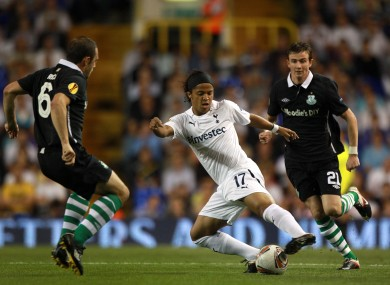 Rovers midfielders Stephen Rice and Ronan Finn close down Giovanni Dos Santos.