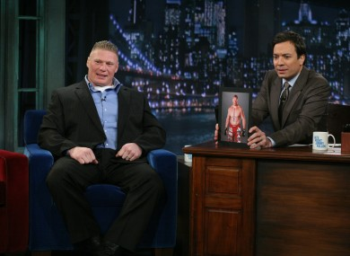 Brock Lesnar during an interview with Jimmy Fallon.