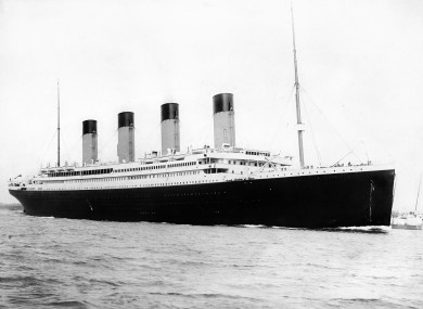 1912 photo of the Titanic.
