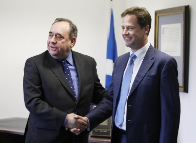 Clegg and Salmond in June of last year (File photo)
