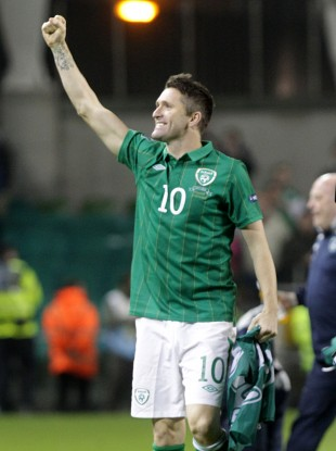Keane celebrating Ireland's qualification to Euro 2012.