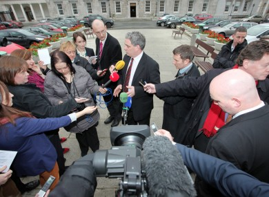 Aengus Ó Snodaigh takes questions from the press outside Leinster House earlier today.