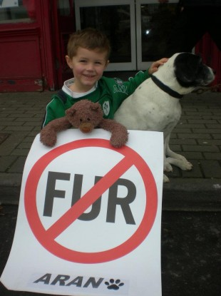 Rachel's son Noah pictured with his favourite teddy and a dog supporting the ban on fur farming in Ireland at a recent protest.