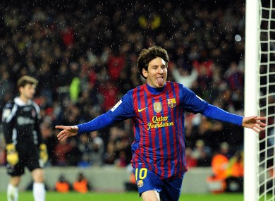 Messi celebrates after scoring tonight.