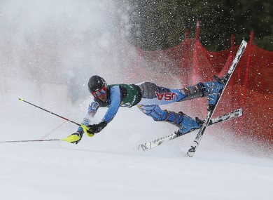 Seppi Stiegler, of the United States, crashes during the men's slalom skiing event during the US Alpine Championships.