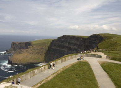 Visitors at the Cliffs of Moher in County Clare