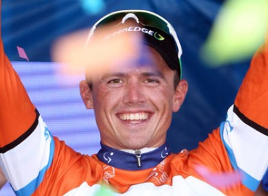 Simon Gerrans (GreenEdge) celebrates his win.