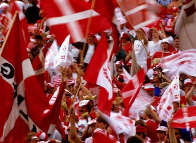Danish fans in the stands at Euro 1984,
