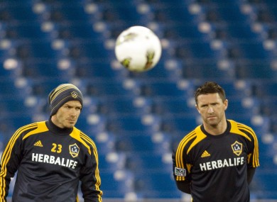 Beckham and Keane during Galaxy squad training.