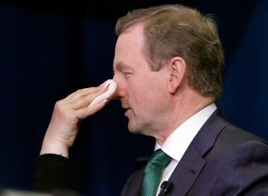 Enda Kenny has make-up applied before a TV appearance in New York last month. The Department of the Taoiseach hasn't spent any cash on make-up for Kenny since he took office.