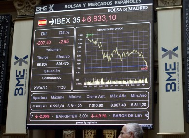 The main screen at the stock exchange in Madrid earlier this week