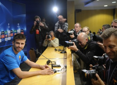 Barcelona's Gerard Pique attends a press conference at the Camp Nou stadium yesterday.