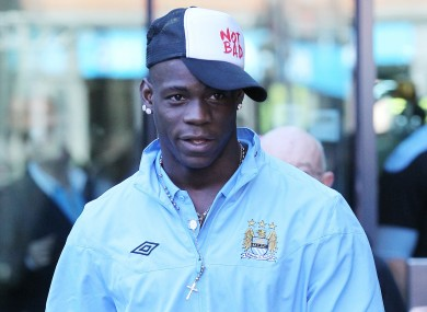 Manchester City's Mario Balotelli leaving his hotel on Monday morning.