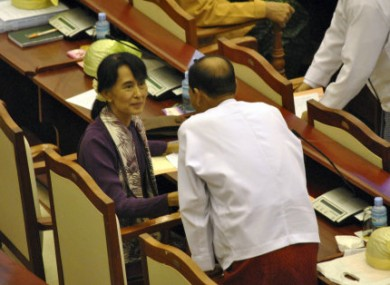 Suu Kyi attends a regular session of the lower house in Naypyitaw today.