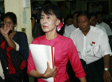 Suu Kyi at her party headquarters in Myanmar earlier this month