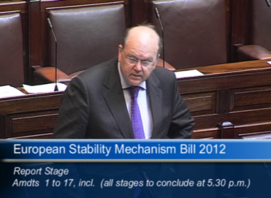 Michael Noonan required Dáil approval to make 17 changes to the ESM treaty, correcting mistakes made in the European translation.