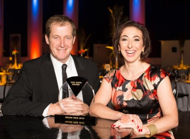 Former Downing Street communications chief Alastair Campbell and IAPI chief Tania Banotti at last night's awards in Dublin