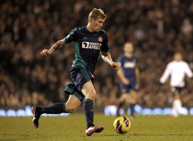 McClean in action against Fulham in Craven Cottage yesterday.