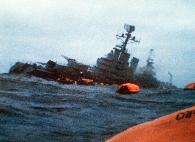 The Belgrano sinks in the South Atlantic Ocean after being torpedoed by the British Royal Navy's submarine Conqueror on 2 May.