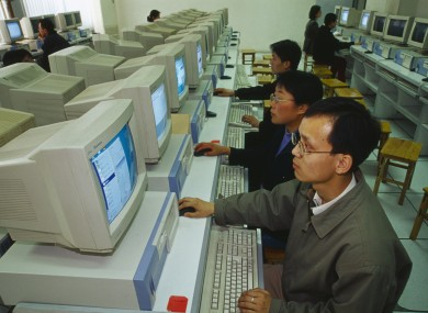 An internet cafe in Shaanxi Province in China