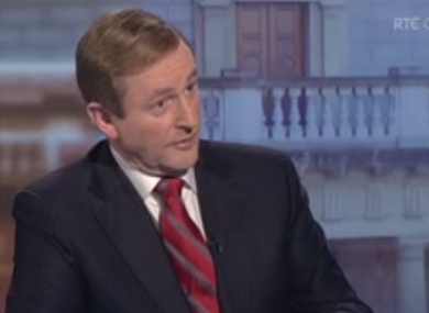 Taoiseach Enda Kenny speaking to RTÉ today