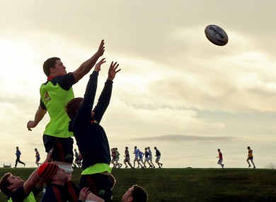General view of the Munster forwards practicing a line out at UL.