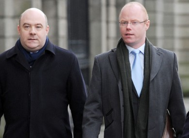 David Hall (Left) and independent TD Stephen Donnelly arriving at the Four Courts in Dublin last week.