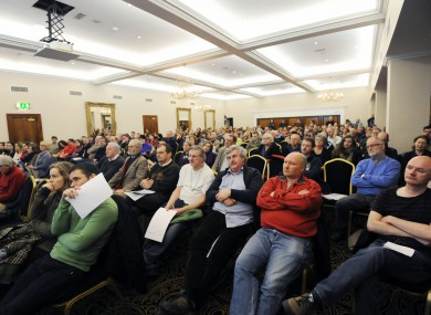 Public servants in the education sector attend a rally in the Gresham Hotel