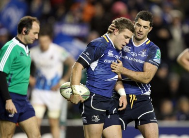 Rob Kearney congratulates Ian Madigan on a try.