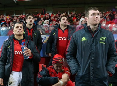 Doug Howlett and Peter O'Mahony watch Munster v Ulster in December.