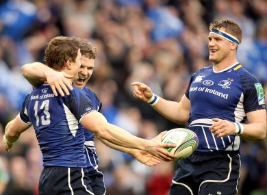Brian O'Driscoll and Jamie Heaslip celebrate a Leinster try.