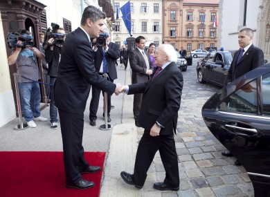 Michael D Higgins and Croatian Prime Minister Zoran Milanovic
