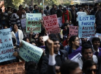 Indians participate in a protest against gender discrimination and sexual violence in New Delhi in January