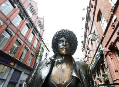 The statue of Phil Lynott which was returned to Dublin's Harry Street this week