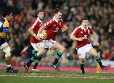 Stuart Hogg races in a try against Combined Country XV.