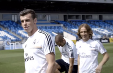 Real Madrid players play crossbar challenge with rugby ball