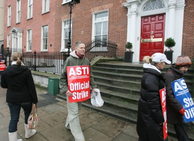 Workers on an official ASTI picket outside Loreto College in Dublin in 2009.