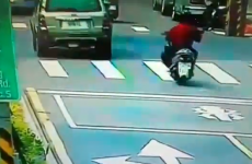 The luckiest scooter rider in the world