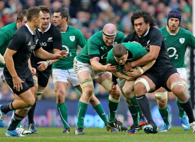 Action from Ireland v New Zealand in November.