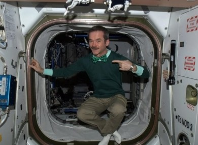Chris Hadfield marks St Patrick's Day on board the ISS earlier this year