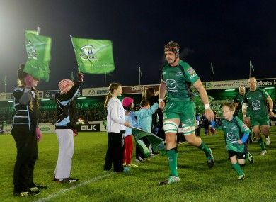 Connacht's captain Craig Clarke with mascot Jamie Connolly in November of this year.