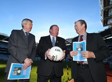 GAA president Liam O'Neill with Eugene McGee, FRC chairman and Director-General Paraic Duffy.