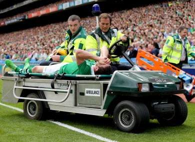 Seamus Hickey is stretchered off injured during the All-Ireland semi-final against Clare.