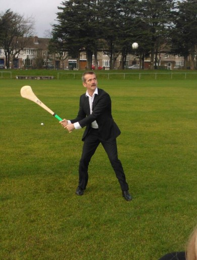 Star man Chris Hadfield tries his hand at hurling in Dublin