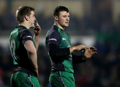 Eoin Griffin and Robbie Henshaw are midfield partners today.