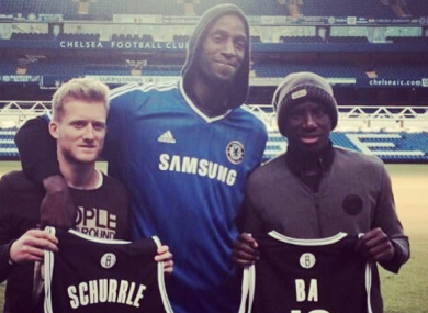 Schurrle and Ba: in their defence, most people look small when they stand beside KG.